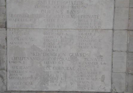 A few of the 14,000+ names on the Pozieres British Memorial at the Pozieres British Cemetery.