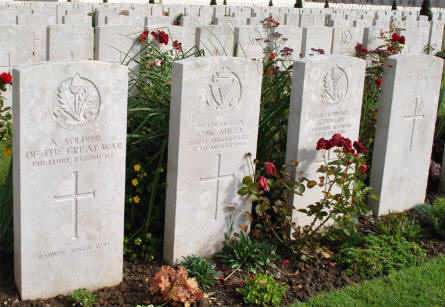 Some of the many World War I graves at the Pozieres British Cemetery.