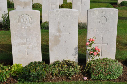 "Some of the many ""known"" and ""unknown"" World War I graves at the Pozieres British Cemetery."