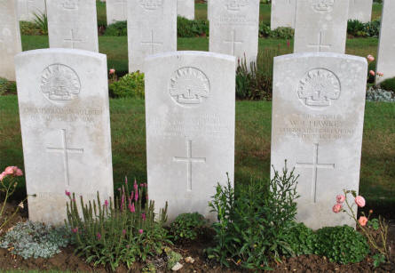 Some of the Australian World War I graves at the Pozieres British Cemetery.