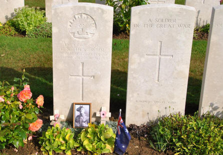 Two of the World War I graves at the Pozieres British Cemetery.