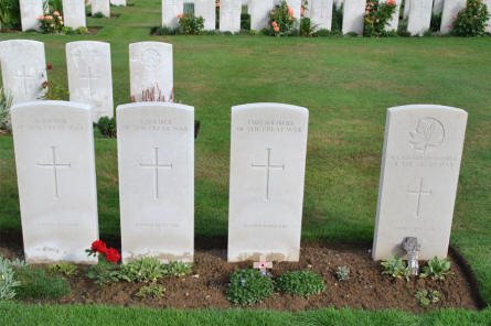 "Some of the World War I  ""A Soldier of the Great War"" graves at the Pozieres British Cemetery."