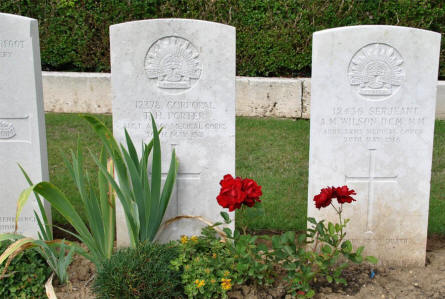 Some of the Australian World War I graves at the Querrieu British Cemetery.