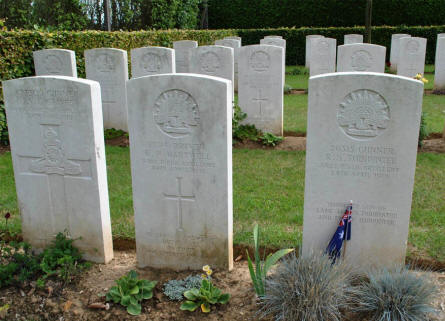 Some of the many Australian World War I graves the Querrieu British Cemetery.