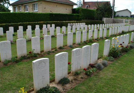 Some of the many World War I graves at the Querrieu British Cemetery.