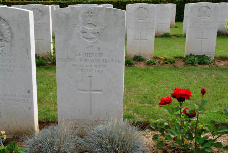 The World War I grave of Lieutenant Harold Johnston Browne (Royal Air Forice - killed 3rd of May 1918) at the Querrieu British Cemetery.