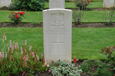 One of the World War I graves that are a part of the Thiepval Memorial.