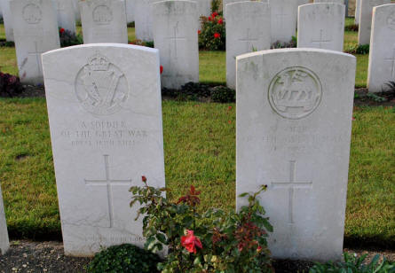 "Two of the many ""A Soldier of the Great War"" graves at the Villers-Bretonneux Military Cemetery (Amien)."