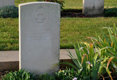 The World War I grave of Corporal T. Emery (Royal Air Force - killed on the 7th of September 1918) at the Villers-Bretonneux Military Cemetery (Amien).