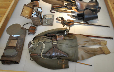 A British World War I uniform and saddle displayed at the Museum of the Great War 1914-1918 in Péronne.