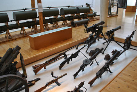 Some of the World War I weapons displayed at the Museum of the Great War 1914-1918 in Péronne. In the background a special device which was used to lay out war gases.