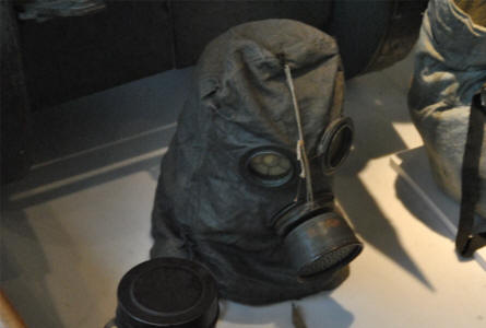 A World War I gas mask displayed at the Museum of the Great War 1914-1918 in Péronne.