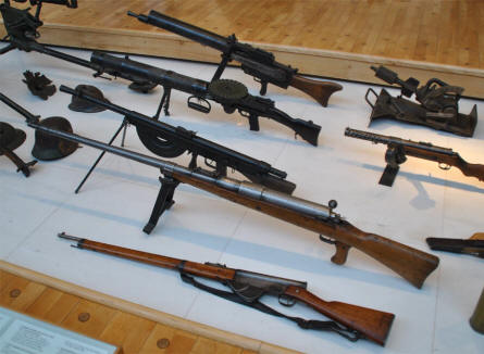 Some of the World War I weapons displayed at the Museum of the Great War 1914-1918 in Péronne.