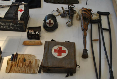 Some of the World War I medical equipment displayed at the Museum of the Great War 1914-1918 in Péronne.