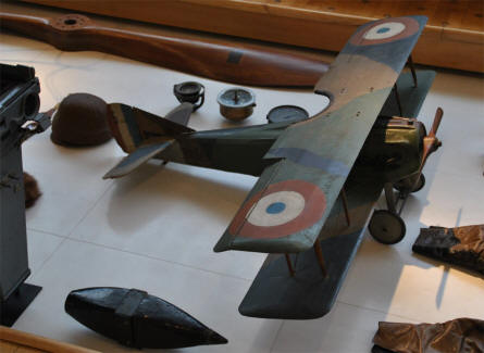 A model of a French World War I aircraft displayed at the Museum of the Great War 1914-1918 in Péronne.