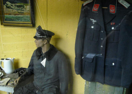 German World War II Luftwaffe uniforms displayed at the Atlantic Wall Museum - Battery Todt in Audinghen.