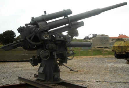 German World War II 88 mm anti-aircraft gun displayed outside the Atlantic Wall Museum - Battery Todt in Audinghen.