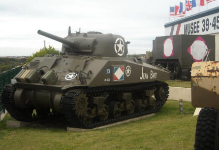An American World War II Sherman tank displayed outside the World War II Museum - Ambleteuse.