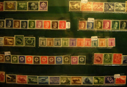 German stamps from the Nazi period displayed at the Calais War Museum.