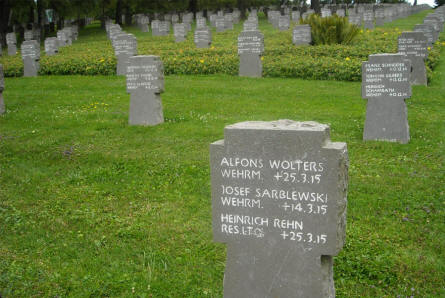 Some of the many headstones at the Noyers-Pont-Maugis German War Cemetery. These soldiers died in 1915 - during  World War I.