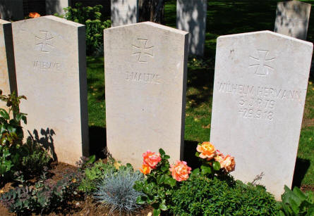 Some of the few German World War I graves at the Faubourg-d'Amiens Cemetery in Arras.