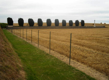 The Quatre Vents Military Cemetery in Estree-Cauchy is located in a field - a short distance from the road.