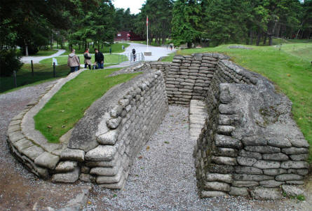 At the World War I memorial park - next to the Canadian National Vimy Memorial at Vimy Ridge - the trenches have been preserved by replacing the original sand bags with sand bags made out of concrete.