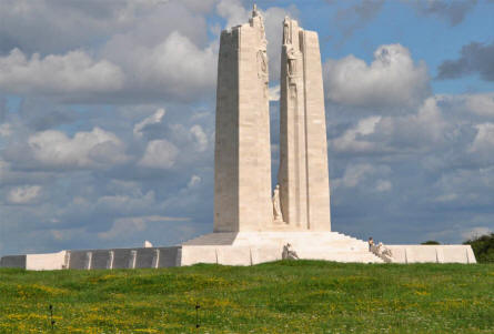 The impressive Canadian National Vimy Memorial at Vimy Ridge. The twin pylons are approx. 30 meters high - notice the very small person on the stairs at the front of the memorial.