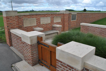 The entrance to the Windmill British Cemetery in Monchy-le-Preux - just east of Arras.