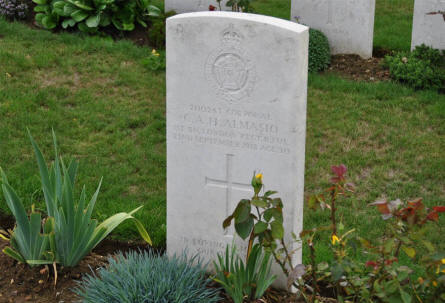 The World War I grave of Corporal C. A: H. Almasio (killed on the 22nd of September 1918) at the Windmill British Cemetery in Monchy-le-Preux - just east of Arras.