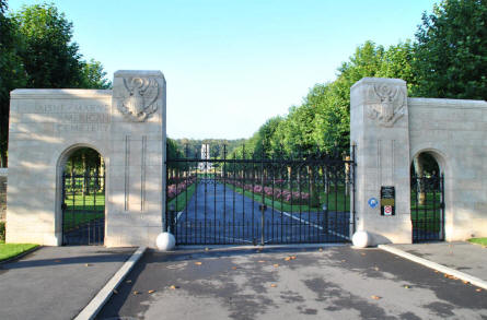 The entrance to the Aisne-Marne American Cemetery & Memorial in Belleau - north west of Château-Thierry.