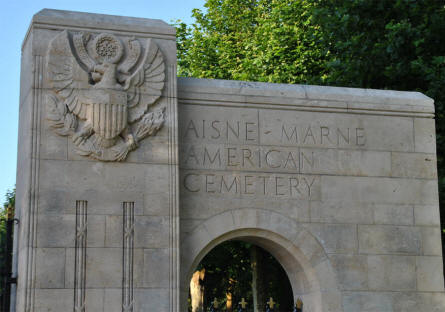 A part of the entrance to the Aisne-Marne American Cemetery & Memorial in Belleau - north west of Château-Thierry.