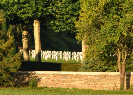 Some of the graves at the Aisne-Marne American Cemetery & Memorial in Belleau - north west of Château-Thierry.