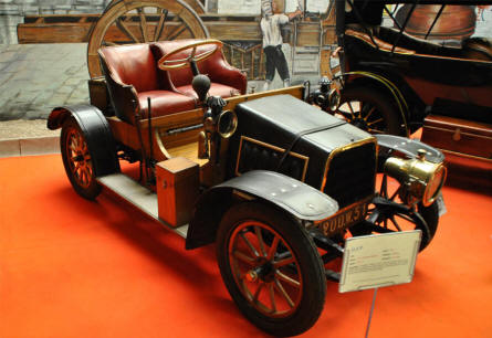 A vintage D.F.P. automobiles displayed at the Automobile Museum Reims-Champagne.