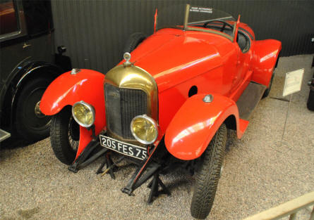A 1929 Cime A2 sports cars displayed at the Automobile Museum Reims-Champagne.