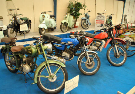 Some of the classic scooter and mopeds displayed at the Automobile Museum Reims-Champagne.