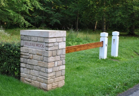 The gate into the World War I Belleau Wood Memorial - north west of Château-Thierry.