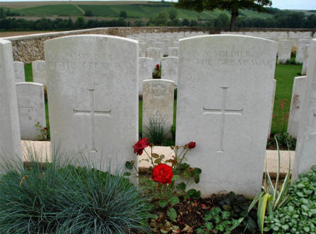 "Two of the many ""A soldier of the Great War"" graves at the Chambrecy British Cemetery. When there is no other information on the stone, the authorities have not be able to identify rank nor regiment of the dead soldier."