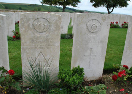 The World War I graves of Private R. Gershman (killed on the 20th of July 1918) at the Chambrecy British Cemetery. Next to him is one of the many unknown graves at this cemetery.