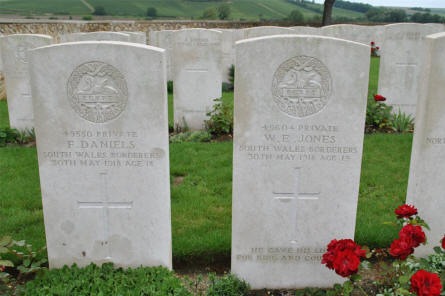 The World War I graves of Private F. Daniels and Private W. E. Jones (both killed on the 30th of May 1918) at the Chambrecy British Cemetery.