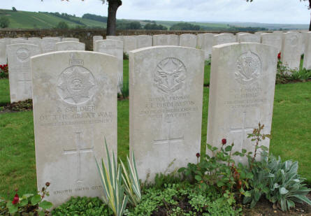 "Some of the many ""known"" and ""unknown"" World War I graves at the Chambrecy British Cemetery."