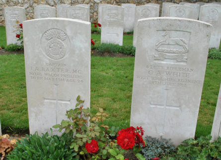 The World War I graves of Captain I. A. Baxter (MC - killed on the 30th of May 1918) and Rifleman G. A. White (killed on the 28th of July 1918) at the Chambrecy British Cemetery.