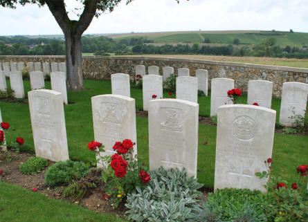 Some of the many World War I graves at the Chambrecy British Cemetery.