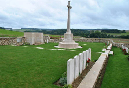 Some of the many World War I graves at the Chambrecy British Cemetery - and the Cross of Sacrifice.