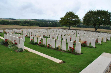 Some of the many World War I graves at the Chambrecy British Cemetery. The cemetery is located in the open country side - a few hundred meters east of Chambrecy.