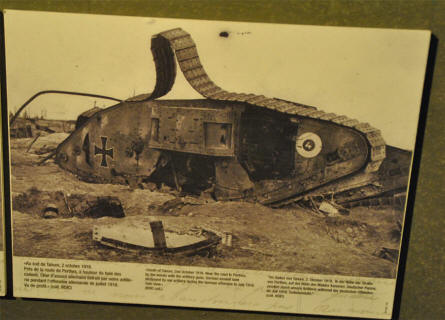 A picture of  a destroyed German World War I tank displayed at the Museum Marne 14-18 in Suippes.