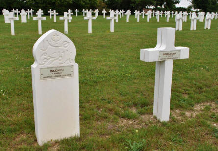 Some of the many graves (incl. Muslim graves) at the Souain French National War Cemetery.