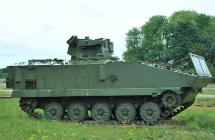 An armoured vehicle displayed outside the military training area just outside Suippes.