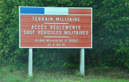 A sign outside the military training area just outside Suippes.