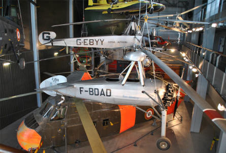 Some of the many helicopters and autogyros displayed at the Le Bourget Museum of Air & Space in Paris.